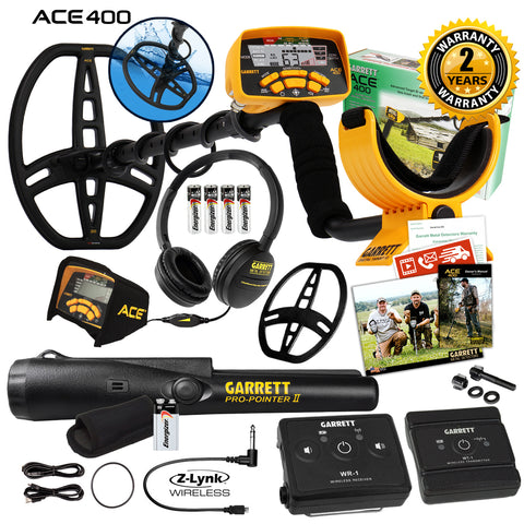 Garrett ACE 400 Metal Detector w/ Z-Lynk Wireless Audio System & Propointer II