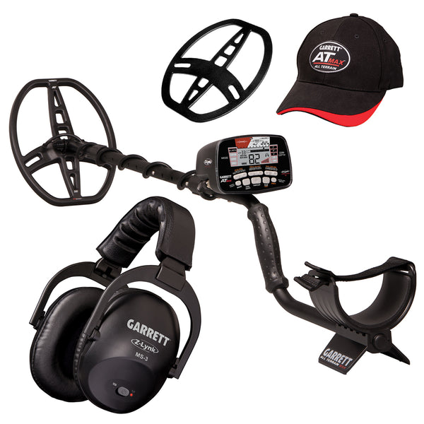 Garrett AT MAX Metal Detector, Wireless Headphones, Hat, Coil Cover and More