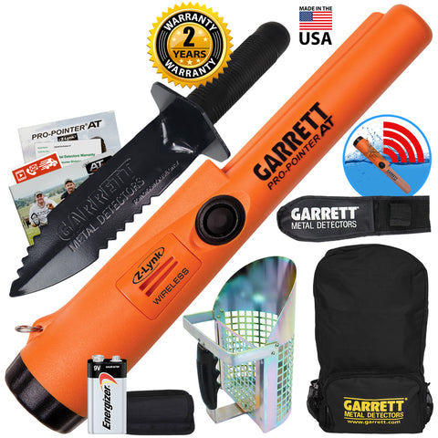 Garrett Pro Pointer AT Z-LYNK Pinpointer w/ Backpack, Digger & Anodized Scoop
