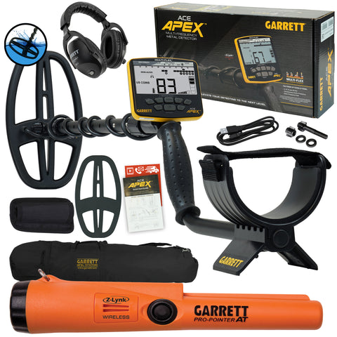 Garrett ACE APEX Detector w/ Z-Lynk Headphones, Pro-Pointer AT Z-Lynk, and Bag