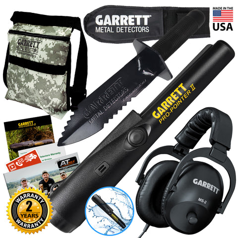 Garrett Pro-Pointer II Detector w/ Edge Digger Camo Finds Pouch and Headphones