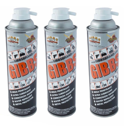 Gibbs Brand Lubricant 12 oz Spray Cans, Set of 3