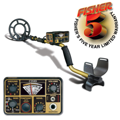 "Fisher CZ-3D Metal Detector with 8"" Concentric Search Coil and 5 Year Warranty"