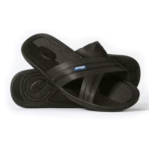 Bokos Durable Black Anti Slip Mens Sandals Easy to Clean and Odor Resistant