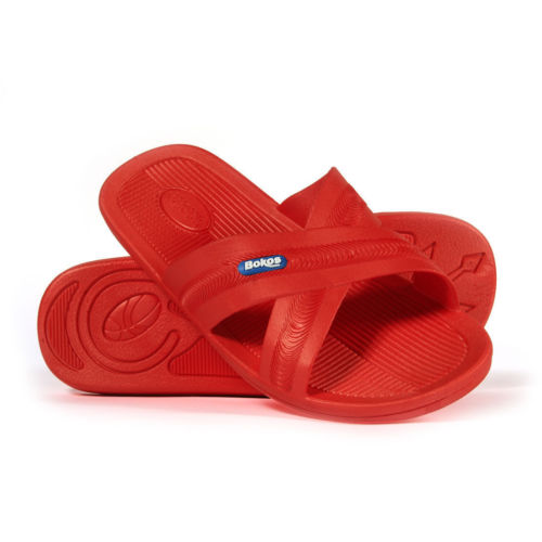 Bokos Durable Flame Red Anti Slip Mens Sandals Easy to Clean and Odor Resistant