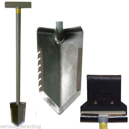 Lesche T-Handle Shovel Serrated Edge and ReadyShovel Leather and Kydex Holster