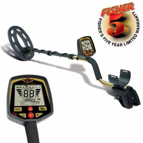"Fisher F70 Metal Detector with 10"" Elliptical Search Coil and 5 Year Warranty"