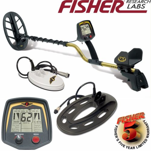 Fisher F75 Metal Detector with 3 Search Coil Pack and 5 Year Warranty