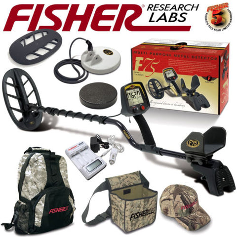 Fisher F75 Ltd Bundle with Two Coils and Covers Back Pack Pouch Cap Battery Kit