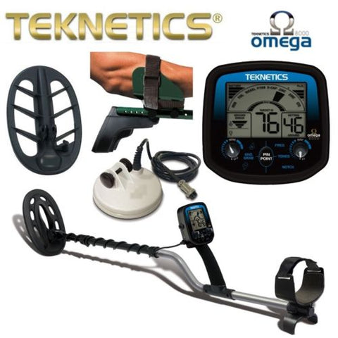 "Teknetics Omega 8500 Metal Detector Combo with 5"" DD Search Coil, 10"" DD Search Coil, 11"" DD Search Coil"