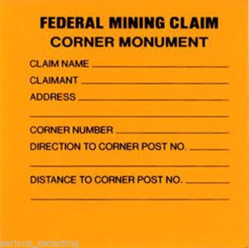 Federal Mining Claim Corner Monument Bright Yellow 3x3""