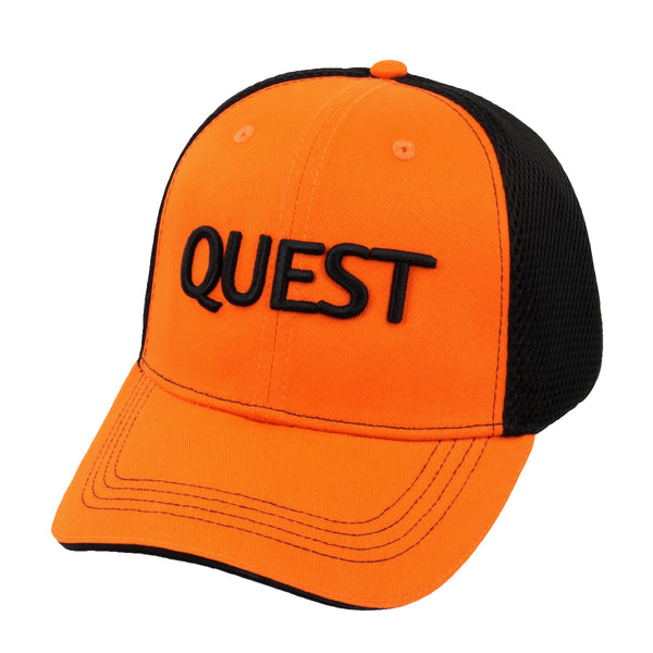 Quest Metal Detectors Orange/Black Mesh Hat Baseball Cap with Adjustable Strap
