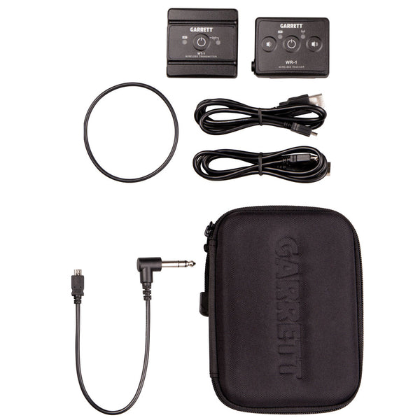"Garrett Z-Lynk Wireless System Transmitter and receiver with 1/4"" headphone jack connector"