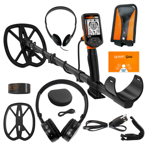 "Quest Q40 Metal Detector with 11 x 9"" Wide Scan TurboD Waterproof Search Coil"