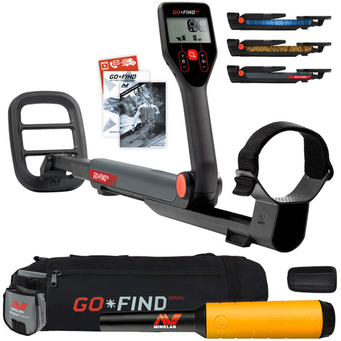 Minelab GO FIND 22 Metal Detector with PRO FIND 20, Black Carry Bag, Finds Pouch