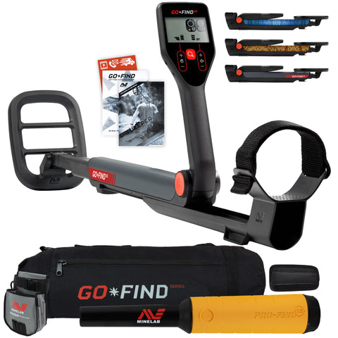 Minelab GO FIND 22 Metal Detector with PRO FIND 15, Black Carry Bag, Finds Pouch