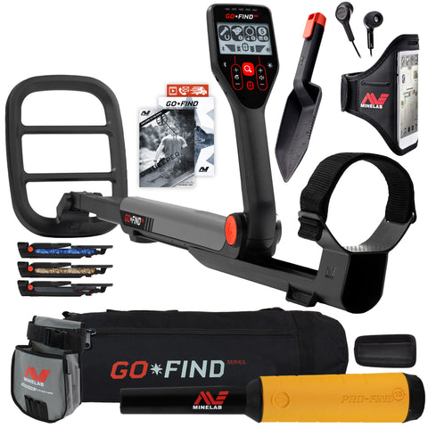 Minelab GO FIND 66 Metal Detector with PRO FIND 15, Black Carry Bag, Finds Pouch