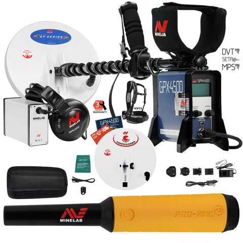 Minelab GPX 4500 Metal Detector with Pro Find 15 Pinpointer and 2 Search Coils