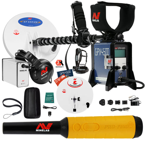 Minelab GPX 4500 Metal Detector with Pro Find 35 Pinpointer and 2 Search Coils