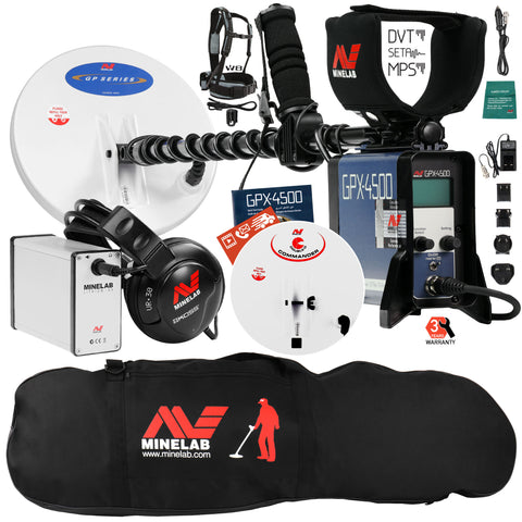 Minelab GPX 4500 Metal Detector with Black Padded Carry Bag and 2 Search Coils