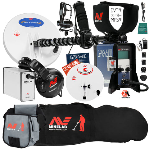 Minelab GPX 4500 Metal Detector with Carry Bag, Finds Pouch, and 2 Search Coils