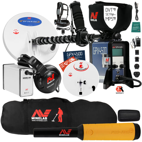 Minelab GPX 4500 Metal Detector with Pro Find 15 Pinpointer, Carry Bag, 2 Coils
