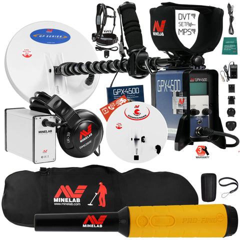 Minelab GPX 4500 Metal Detector with Pro Find 35 Pinpointer, Carry Bag, 2 Coils