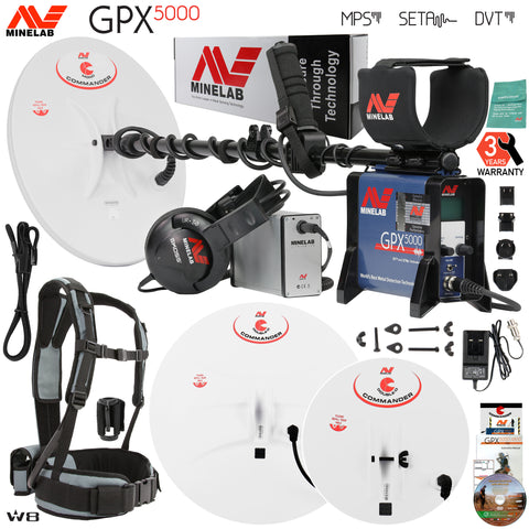 Minelab GPX 5000 Gold Detector Bundle w/ 3 Commander Search Coils & Accessories