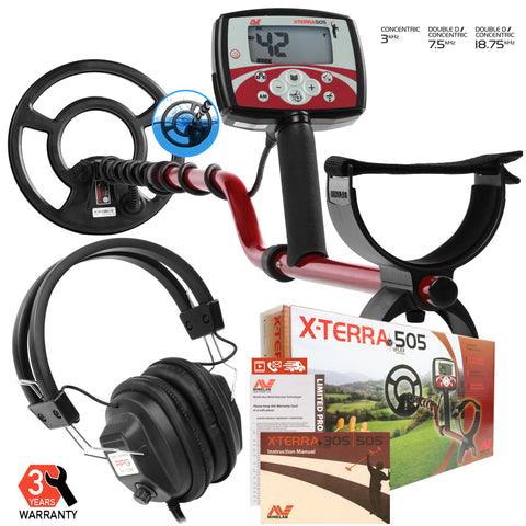 "Minelab X-Terra 505 Metal Detector with 9"" Search Coil and RPG Headphones"