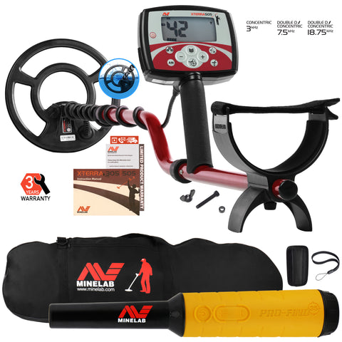 "Minelab X-Terra 505 Metal Detector with 9"" Search Coil, Pro Find 35, Carry Bag"