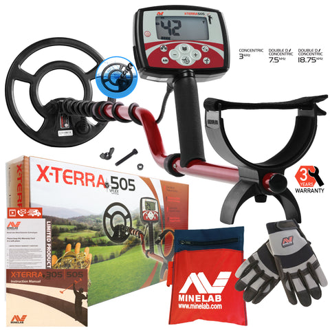 "Minelab X-Terra 505 Metal Detector with 9"" Search Coil, Minelab Gloves & Pouch"