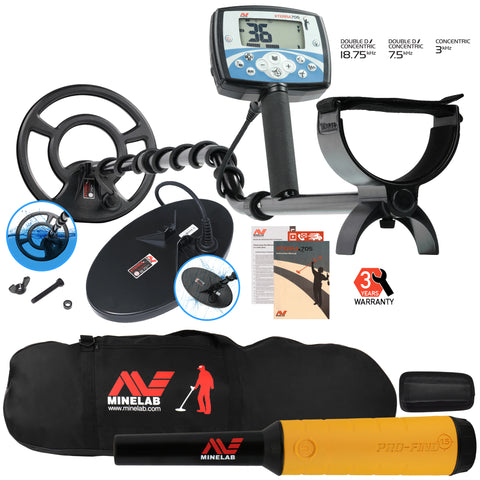 Minelab X-Terra 705 Dual Pack Metal Detector with Pro Find 15, Padded Carry Bag