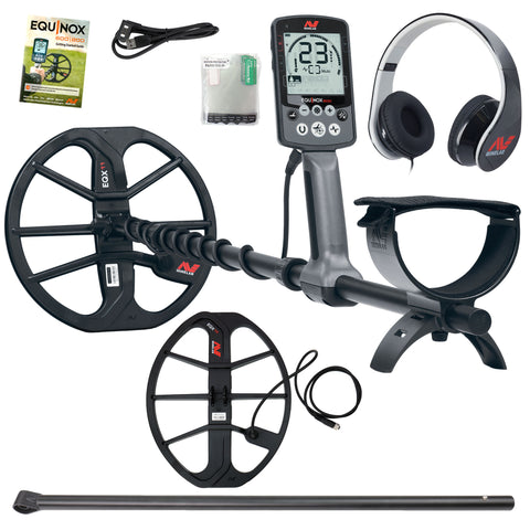 "Minelab EQUINOX 600 Multi-IQ Metal Detector, 15"" x 12"" Coil, and Lower Shaft"