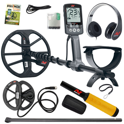 "Minelab EQUINOX 600 Metal Detector, 6"" Coil, Lower Shaft, Pro Find 35"