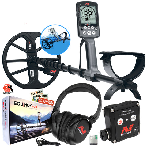 "Minelab EQUINOX 800 Waterproof Metal Detector with 11"" Double D Coil, Multi-IQ"