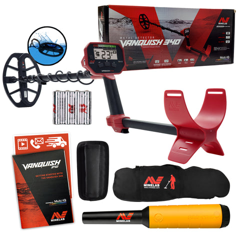 Minelab VANQUISH 340 Detector w/ 10 x 7 Coil, Pro-Find 20 Pinpointer & Carry Bag