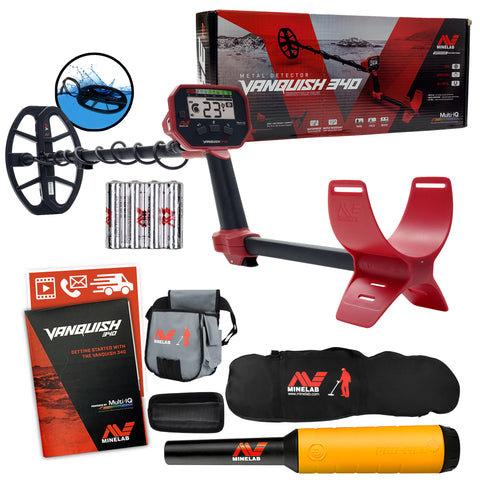 Minelab VANQUISH 340 Detector w/ Pro-Find 20 Pinpointer, Carry Bag, Finds Pouch