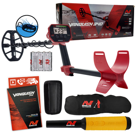 Minelab VANQUISH 340 Detector w/ 10 x 7 Coil, Pro-Find 35 Pinpointer & Carry Bag