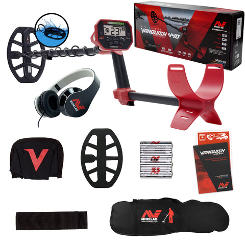 Minelab VANQUISH 440 Metal Detector with 10 x 7 Waterproof DD Coil and Carry Bag