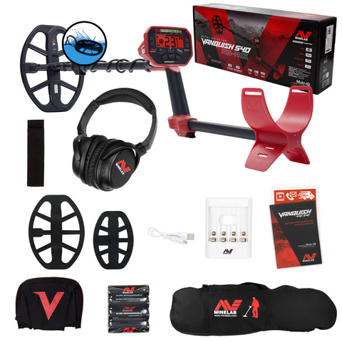 Minelab VANQUISH 540 Pro Pack Metal Detector with 2 Waterproof Coils & Carry Bag
