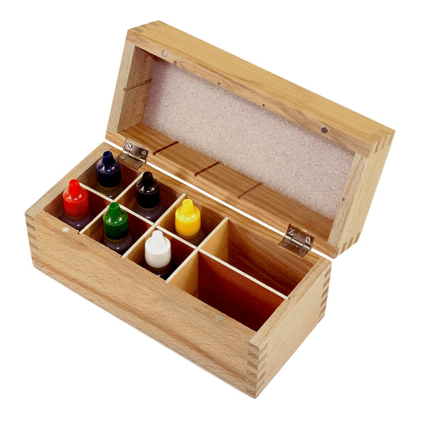 Wooden Box Test Kit - 10k, 14k, 18k, 22k, Silver, Platinum & 8 Slots Wooden Box