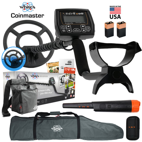 "Whites Coinmaster Detector w/ Waterproof 9"" Spider Coil, Bullseye TRX and More"