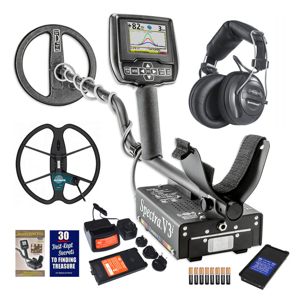 "Whites Spectra V3i Metal Detector with Headphones 10"" DD and 13"" Detech Coil"
