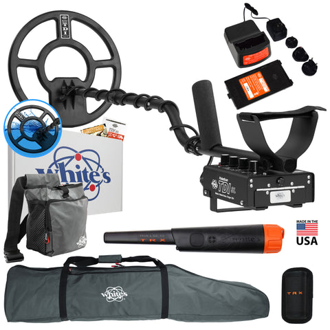 "Whites TDI SL PI Relic Detector w/ 12"" Waterproof Coil, Bullseye TRX and More"