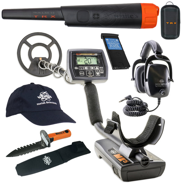 Whites MX5 Metal Detector GEARED UP Bundle w/ Bullseye TRX Pinpointer