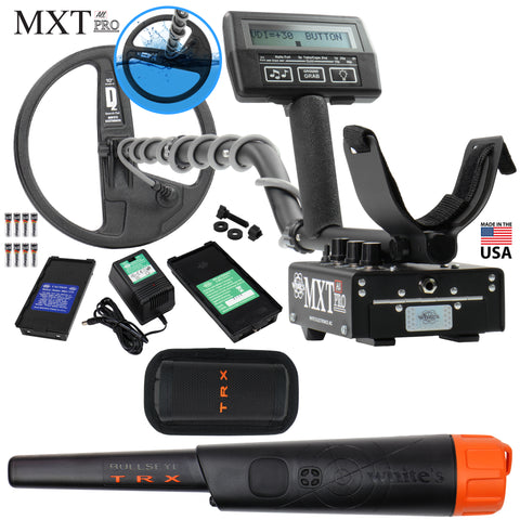 "Whites MXT All Pro Detector w/ Waterproof Round 10"" DD Coil and Bullseye TRX"