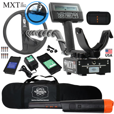 "Whites MXT All Pro w/ Waterproof Round 10"" DD Coil, Bullseye TRX, Carry Bag"