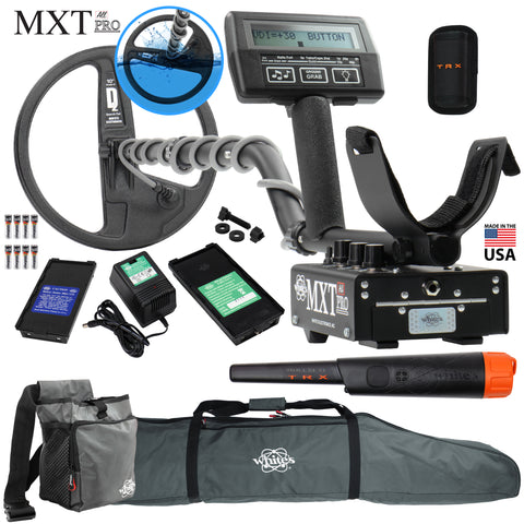 "Whites MXT All Pro w/ Waterproof Round 10"" DD Coil, Bullseye TRX and More"