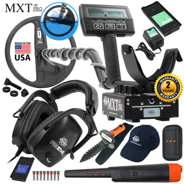 Whites MXT All Pro Metal Detector GEARED UP Bundle w/ Bullseye TRX Pinpointer