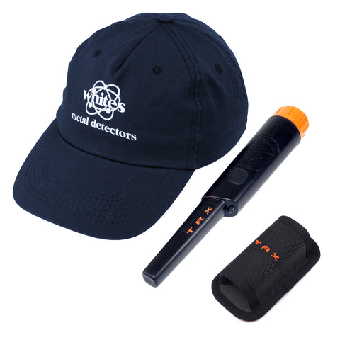 Whites Bullseye TRX Pinpointer Pin Pointer with Holster and White's Navy Hat